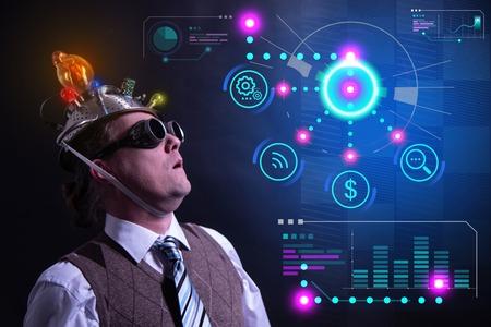 Funny nerd or geek with digital HUD elements