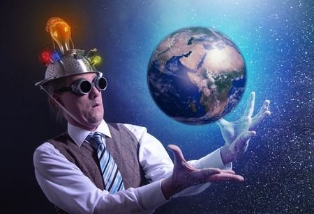 Funny scientist looking to universe and planet earth