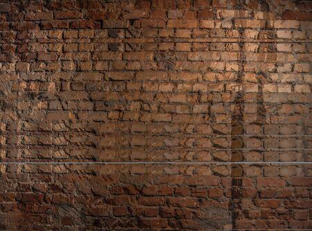 Backsteinmauer von roter Farbe breites Panorama des Mauerwerks Standard-Bild
