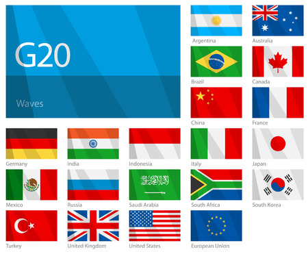 Waving Flags of G-20 Countries. Design WAVES. Vector
