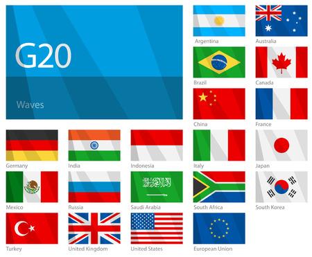 Wuivende vlaggen van G-20 landen. Ontwerpen van golven. Stock Illustratie