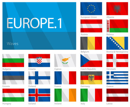 Waving Flags of European Countries - Part 1. Design WAVES. Illustration