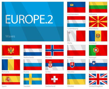 -第 2 部の欧州諸国の旗を振る。波をデザインします。