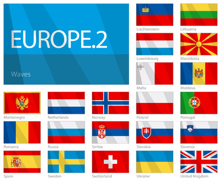Waving Flags of European Countries - Part 2. Design WAVES.  Vector