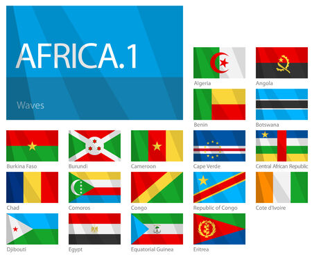 Waving Flags of African Countries - Part 1. Design WAVES.  Illustration