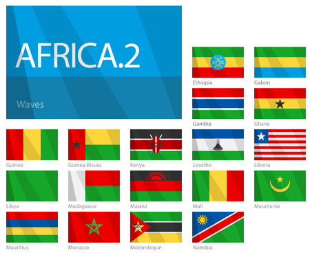 Waving Flags of African Countries - Part 2. Design WAVES.  Illustration