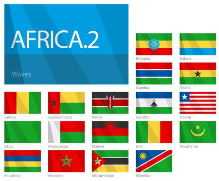 Waving Flags of African Countries - Part 2. Design WAVES.  Illusztráció