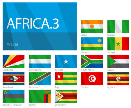 Waving Flags of African Countries - Part 3. Design WAVES.  Vector