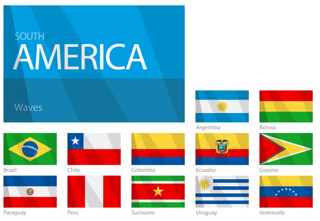 Waving Flags of South American Countries. Design WAVES.