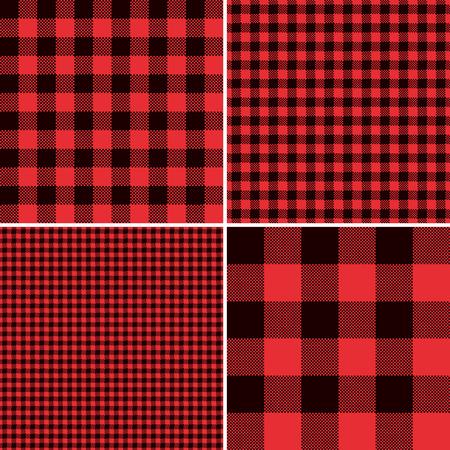 Lumberjack Red Buffalo Controleer Plaid en plein Pixel Gingham Seamless Pattern Tile Stalen