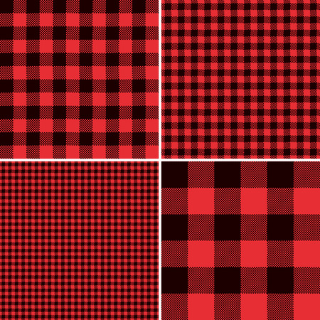 Lumberjack Red Buffalo Check Plaid and Square Pixel Gingham  Seamless Pattern Tile Swatches Illustration
