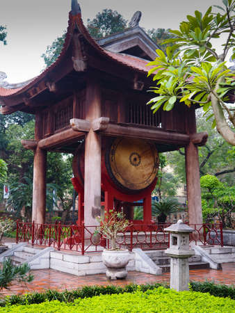 The Temple of Literature (Van Mieu) in Hanoi. Drum and Chinese pagoda. Vietnam, March 2017.