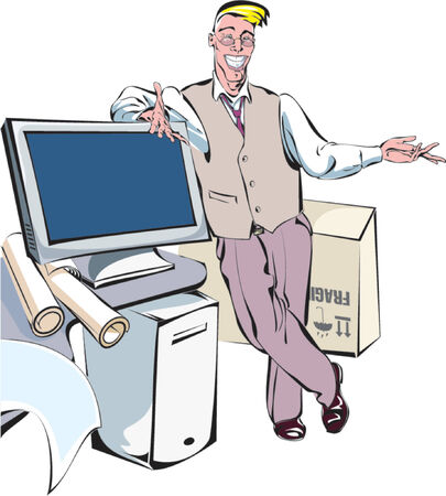 purchasing manager: A guy showing a new monitor. Illustration
