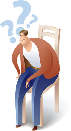 A man is sitting on a chair. Hes got some questions. Vector