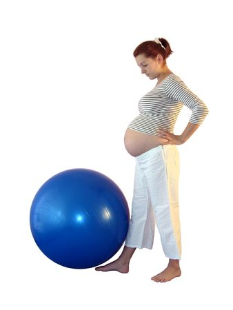 a pregnant woman with a blue ball. Stock Photo