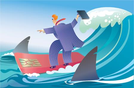 Un hombre de negocios de surf entre tiburones.  Ilustración de vector