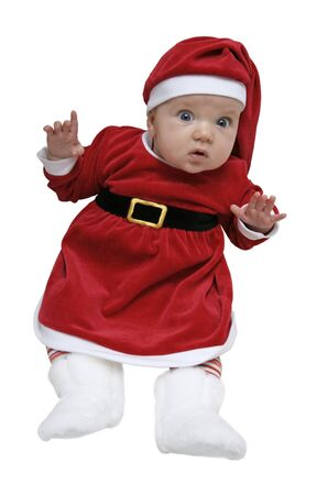 dwarf christmas: A baby dressed as a gnome.