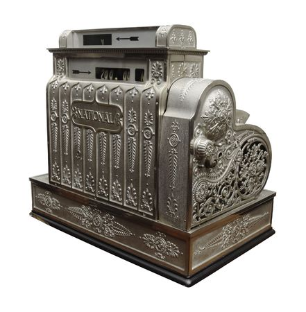 An old-fashioned cash register.  photo