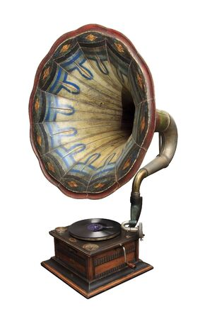 An old gramophone ornate with color pattern. Stock Photo