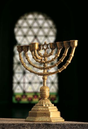 A chanukia in the interior of synagogue. Фото со стока