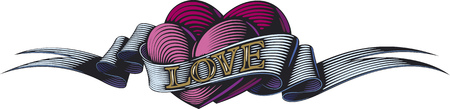 Two purple hearts are bound by the love ribbon. Valentine's day symbol. Illustration