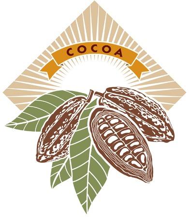 cacao: Label con cacao en grano con hojas verdes.
