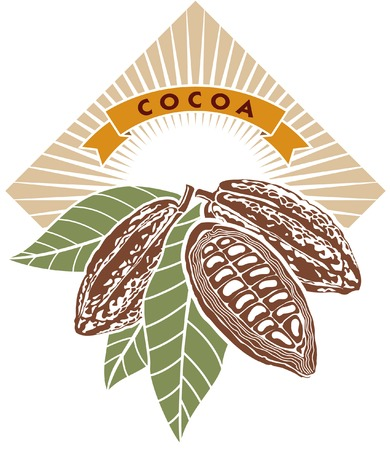 стручки: Label with cocoa beans with green leaves.