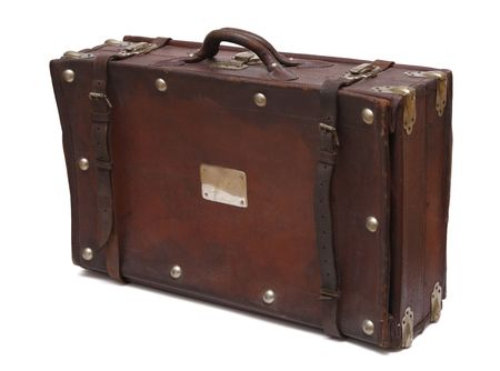An old retro-styled suitcase from brown leather.