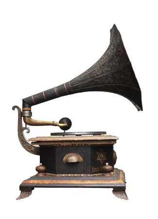 An old gramophone ornate with Jewish motives. Stock Photo