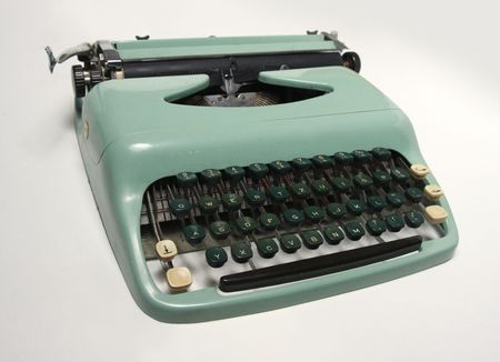 An old-fashioned typewriter with Central European charset. photo