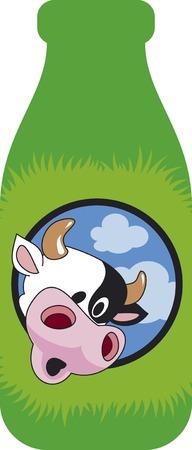 hooves: Sorpreso mucca testa sul verde bottiglia. Divertente cartone animato.