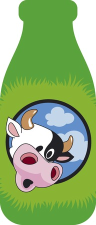 dairy cattle: Surprised cow head on the green bottle. Funny cartoon.