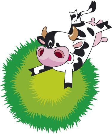 cow skin: Jumping cow on the meadow. Funny cartoon.