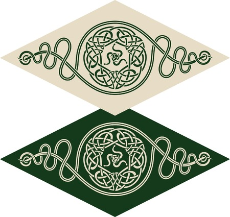 celtic symbol: Vector pattern using Celtic ornamental elements and the sign of twisted snakes.