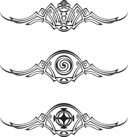 Three vector patterns using Celtic ornamental elements.