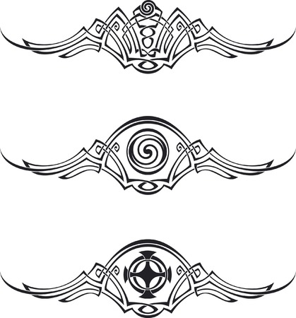 corbel: Three vector patterns using Celtic ornamental elements.