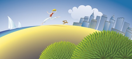 The human and the dog are escaping from the urban life. Vector