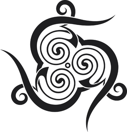 A celtic-style tattoo pattern with spirals and spikes.
