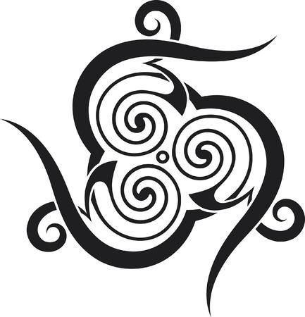 Un estilo celta-tatuaje patrón con espirales y espigas.