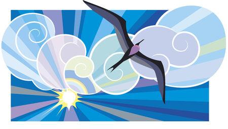stormy clouds: Big black sea-bird Fregata Magnificens flying in the sunburst.