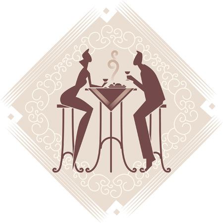 Het jonge paar is met een diner. Vector kunst. Decoratieve achtergrond.