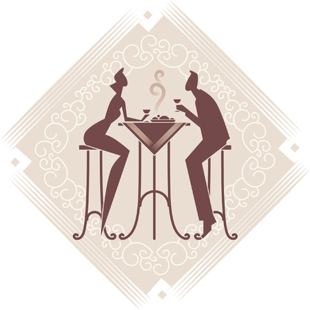two women talking: The young couple is having a dinner. Vector art. Decorative background. Illustration