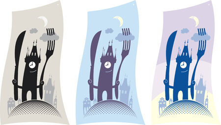 broach: The old town tower invites to a restaurant for a dinner. Vector design.