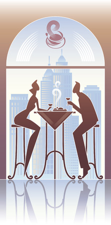 Couple have a dinner in the city restaurant.