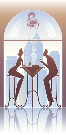 pareja comiendo: Pareja tiene una cena en el restaurante de la ciudad.