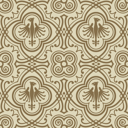 Seamless pattern with medieval style elements.