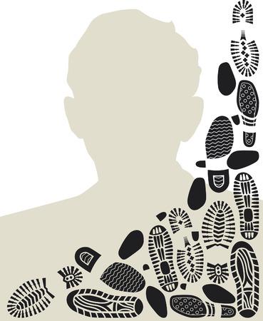 downtrodden: Footworn portrait of a man. Frame design with bootprints. Illustration