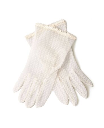 gloves women: Delicate gloves isolated on white background.