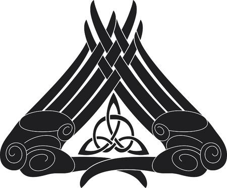 Hand-knoop patroon met de keltische driehoek knoop binnen.