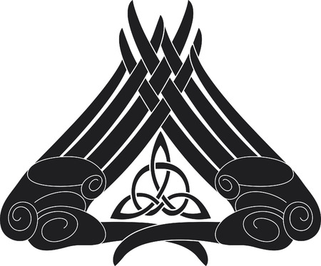 Hand-knot pattern with the celtic triangle knot inside. Illustration